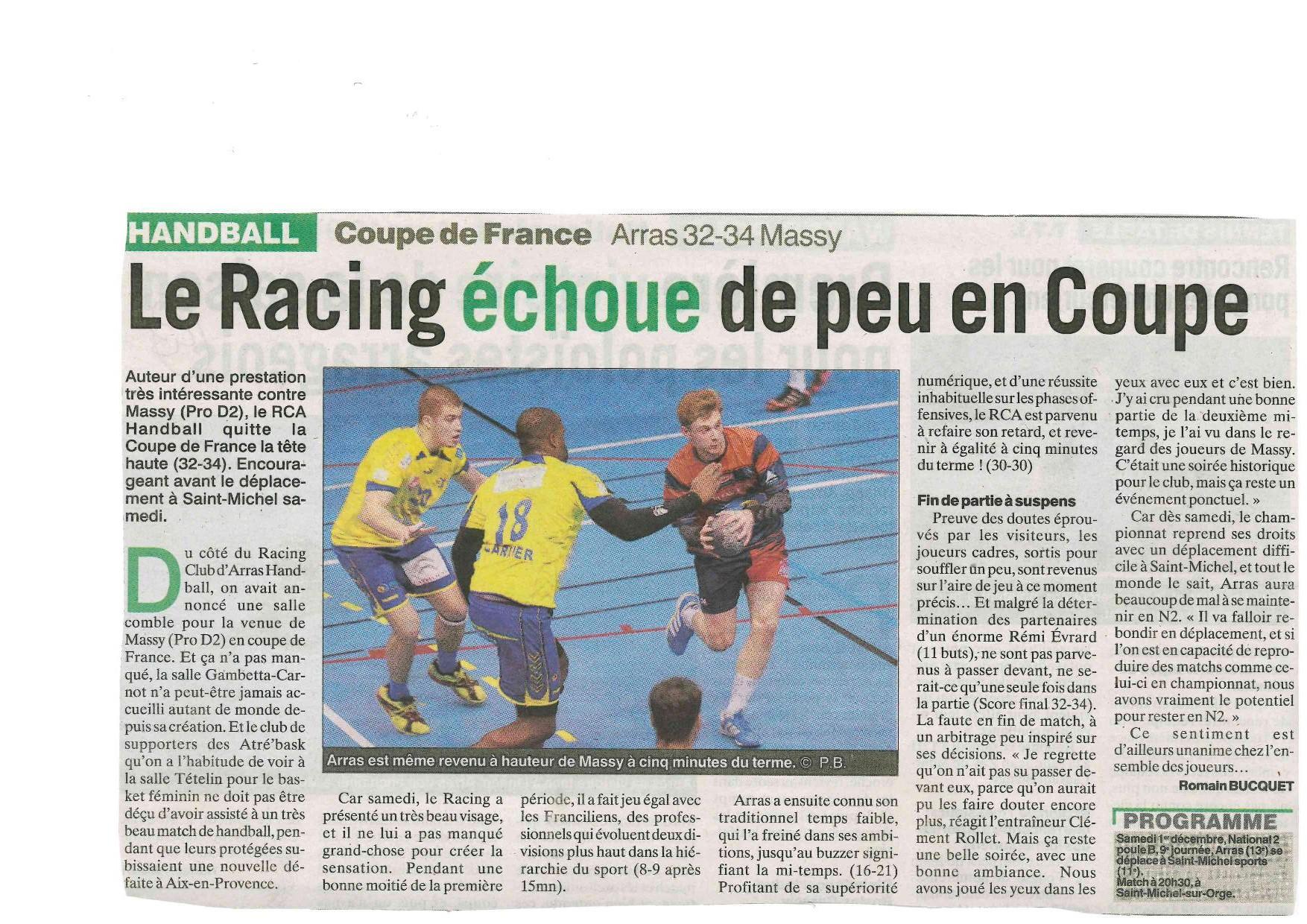 Coupe de france 32 me de finale rc arras hb 32 massy - 32eme de finale coupe de france en direct ...